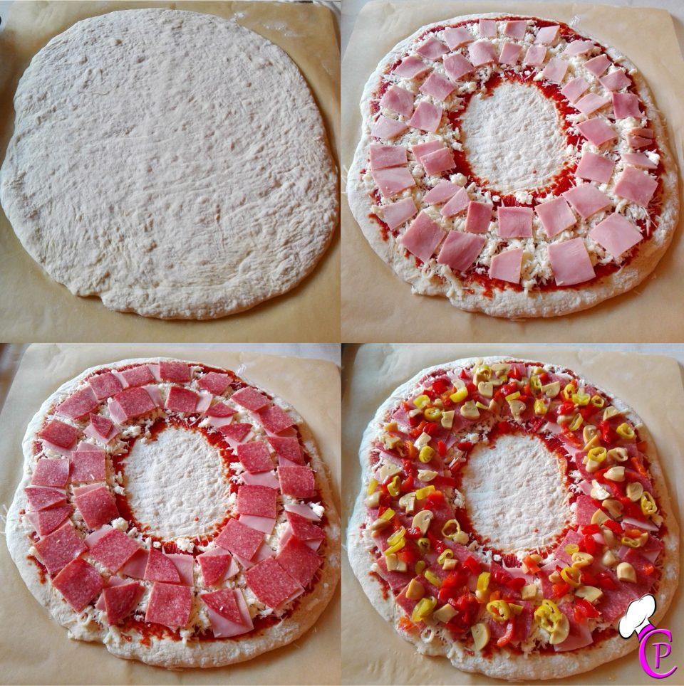 Pizzaring Salami Schinken Teig Pepperoni Champignon